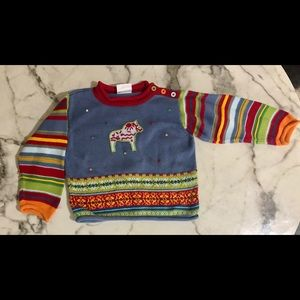 Hanna Andersson Toddler Colorful Horse Sweater 4T